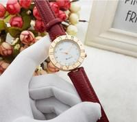 rote kleider für damen großhandel-Luxus Frauen Uhren Rot Leder Rose Gold Damen Mode Quarzuhr Kleid Uhr Frauen Montre Femme Reloj mujer dropshipping