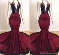 Wholesale pageant dresses for girls 16 green resale online - African Halter Mermaid Prom Dresses for Black Girls Satin Backless Pageant Lace Applique Evening Vestido de noche Party Dresses