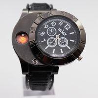 montre-bracelet usb achat en gros de-Hommes montres Briquet Montre Militaire USB Charge Sport Casual Quartz Montres Coupe-Vent Sans Flamme Cigarette Allume-cigare Horloge F665