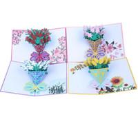 feliz san valentín rosa al por mayor-Flor 3D Tarjetas Pop Up Rose Lily Girasol Amante de San Valentín Feliz cumpleaños Aniversario Tarjetas de felicitación para cumpleaños San Valentín Vacaciones