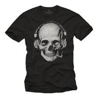 наушники с черепами оптовых-Партия мужчины череп рубашка с DJ наушники-с коротким рукавом рок-музыка байкер TEE Марка рубашки джинсы печати классический высокое качество футболка