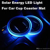 vw iç mekanlar toptan satış-BMW cip Benz VW Audi Ford Chevrolet için LED Güneş Arabası Kupası Mat Tutucu Pad Coaster Işık Aksesuarları İç Dekorasyon Atmosfer