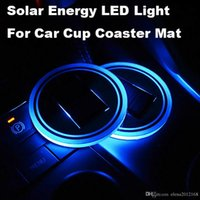 Wholesale led light car bmw resale online - LED Solar Car Cup Mat Holder Pad Coaster Light Accessories Interior Decoration Atmosphere for BMW Jeep Benz VW Audi Ford Chevrolet