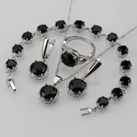 Wholesale dinner jewelry resale online - Simple Round Black Zircon Sterling Silver Color Jewelry Sets For Women European And American Fashion Dinner Costume