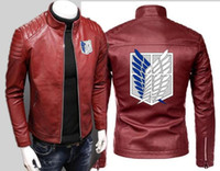 кардиган кожаные рукава оптовых-New Men's Motorcycle Feathers Shield Free Wings Leather Jacket Zip Cardigan Long Sleeve Sports Casual Car Leather