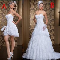 Wholesale 18w sweetheart empire wedding dress for sale - Group buy Hot Sale Lace Short Long Wedding Dresses Sweetheart Zipper Back Wedding Gowns Tiered Cheap Dress for Bride