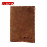 Wholesale gubintu wallets for sale - Group buy GUBINTU Genuine Cow Leather Short Men Wallets Passcard Holder ID Card Holder Thin Wallets Vintage Brand For Male