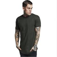дизайн футболки для мужчин оптовых-Новый дизайн футболки Мужская полосатая футболка с коротким рукавом O-образным вырезом дышащая футболка High Street Тонкая футболка для мужчин