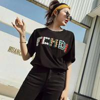 perles à broder achat en gros de-2019 nouvelle marque d'été concepteur noir à col rond T-shirt femme Tops T-shirt en coton à manches courtes Tshirt mens femmes perles de broderie Tops
