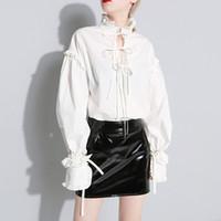 blouse blanche à ressort achat en gros de-Manches À Volants Lanterne À Manches Chemise Tops Femme À Lacets Debout Col Blanc Blouse Femmes Vêtements Casual 2019 Printemps Mode