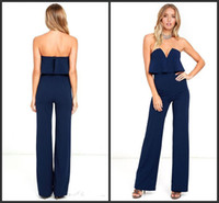 Wholesale wide leg jumpsuit backless for sale – dress 2019 New Ladies Party Jumpsuit Strapless Ruffles Long Wide Leg Jumpsuits Women Sexy Evening Dress Rompers OL Office Outfit