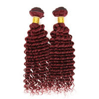Wholesale curly burgundy weave hair resale online - New Style Burgundy Hair deep Curly Weave j brazilian Malaysian Peruvian mongolian Curly Virgin Hair Top Grade Wine Red j Hair