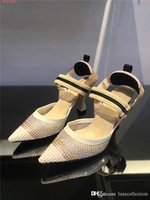 Wholesale water toes resale online - High heels with pointed toes for women Transparent mesh yarn water drill delicate breathable trend High heel sandals With box size