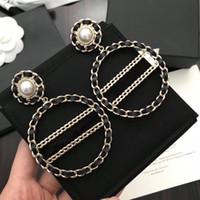 diseños de cajas de regalo de lujo al por mayor-Marca de moda popular Alta versión cc negro Pendientes para dama Diseño Mujer Fiesta Amantes de la boda regalo Joyería de lujo para la novia con la caja.