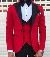 Wholesale tuxedo dress men fashion resale online - Fashion Slim New Fashion Pink Slim Fit Groom Tuxedos Black Peak Lapel Groomsmen Mens Wedding Dress Excellent Man Piece Suit Jacket Pants