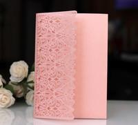 bedruckbare spitze großhandel-2019 neue Ankunft personalisierte druckbare flache Karten Hochzeitseinladungen rosa Spitze hohlen Flora Square Business oder Party Einladungskarten