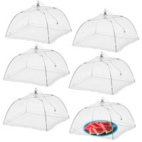 gaze regenschirm groihandel-Mull Klapp Lebensmittel Cover White Umbrella-Art Picknick Anti-Fliegen-Moskito-Netz-Zelt Mahlzeit Abdecktisch Mesh-Lebensmittel-Abdeckung Küche ToolsA03