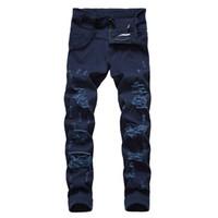 jeans escuro destruído venda por atacado-Jeans Streetwear Vintage Azul Escuro Cor Skinny Destruído Rasgado Jeans Slim Fit Personalidade Stretchy Casual Buraco Denim Calças