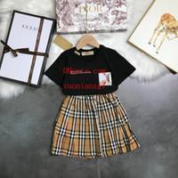 kleinkind t-shirt druck großhandel-Neue Mode Kleinkind Kinder Mädchen Kleidung Set Sommer druck Kurzarm T-shirt Tops + rüschen Rock 2 STÜCKE Outfit Kind Anzug Ni-k3