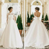 Wholesale two piece satin wedding dress vintage online - 2019 Stunning A Line Satin Wedding Dresses With Long Sleeves Lace Jacket Bridal Gowns Customized Two Piece Vestidos De Marriage