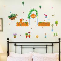 paredes de diseño de la vid al por mayor-pegatinas plana resistente al agua decoración de diseño creativo de pared vides de la flor del jardín de estilo casero verde jardín de estilo fresco porche dormitorio sala de estar