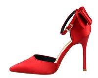 chaussures de soirée noeud papillon achat en gros de-Belle femme talons hauts robe chaussures fête mode Satin Bowtie filles sexy bout pointu chaussures boucle plate-forme pompes chaussures de mariage grande taille