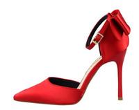 sapatos de festa bowtie venda por atacado-Mulher linda sapatos de salto alto vestido de festa moda cetim Bowtie meninas sexy apontou toe sapatos fivela plataforma bombas sapatos de casamento grande tamanho