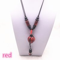 Wholesale long ceramic pendant necklace for sale - Group buy Fashion Ceramics Beads Pendant Ethnic Long Necklace Chain Blue Red Khaki Jewelry Style DIY A