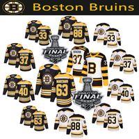 ingrosso boston bruins classici invernali-Men's Boston Bruins 2019 Stanley Cup Maglia finale 63 Brad Marchand Patrice Bergeron Zdeno Chara David Pastrnak Tuukka Rask Winter Classic