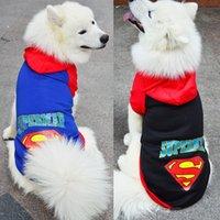 batman köpeği toptan satış-Büyük köpek giysileri büyük köpek kazak superman batman kazak sonbahar ve kış köpek giysileri altın saç satsuma pet giysi