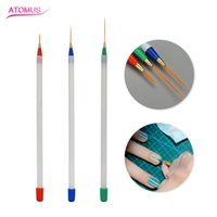 ingrosso spazzole di chiodi utilizzati-3pcs Nail Art Brushes Strumenti per manicure Set Line Drawing Pennello per pittura multiuso Accessori per la cura delle unghie