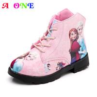 cair botas menina venda por atacado-Outono inverno veludo neve princesa dos desenhos animados imprimir meninas do bebê botas quentes crianças moda botas crianças sapatos para meninas