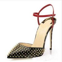 Wholesale womens dress shoes evening resale online - Red Bottom Womens Ladies Fashion Handmade cm cm cm Rivets Spikes Slingback High Heel Sandals Party Evening Dressing Stiletto Shoes Sold