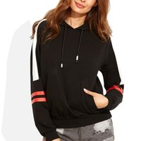 модные женские толстовки оптовых-2019 Autumn Winter Fashion Casual Hoodies Black Hit Color Striped Splicing Women Loose Long Sleeve Hooded Sweatshirt For Ladies
