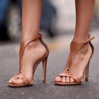 sandales gladiateur marron sexy achat en gros de-Été Talons Hauts Gladiateur Sandales Femmes De La Mode T Attaché Peep Toe Pompes Sexy Stiletto Vintage Dames Chaussures Noir Marron Sandalias