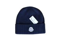 düz kışlık şapka toptan satış-Marka Kasketleri Erkek Kadın Kış Kasketleri 6 Renkler Siyah Şapka Unisex Düz Sıcak Yumuşak Beanie Kafatası Örgü Kap Şapka Örme Touca Gorro Caps