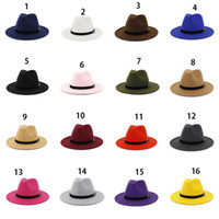 Wholesale military outdoor hat cap resale online - Wool Felt Fedora Panama Hat Women Lady Wool Wide Brim Casual Outdoor Jazz Cap colors