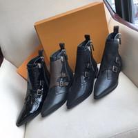 bota plana mujer al por mayor-Nuevo diseñador Jumble botín plano Martin botas para mujer botas de invierno de piel de becerro punta puntiaguda Zapatos sexy con caja de gran tamaño 7 colores
