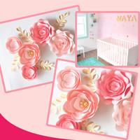 papel de parede do quarto do bebê venda por atacado-Cartolina artesanal Rosa bebê Fleur DIY flores de papel Folhas de ouro conjunto 4 Nursery Wall Deco Baby Shower Girls Room Video Tutorials