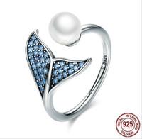 mädchen zirkonia ringe großhandel-Solide 925 Sterling Silber Meerjungfrau Ringe für Teen Mädchen Europa Amerikanische Shell Perle Zirkonia Öffnen Einstellbar Damen Fingerring