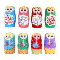 ingrosso set di bambole russe-5pcs / set bambole russe in legno set nidificazione in legno Babushka Matryoshka dipingere a mano bambole Giocattoli per bambini per bambine