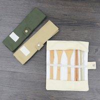 bambu mutfak bezleri toptan satış-Taşınabilir Ahşap Yemek Seti Açık Bambu Çay Kaşığı Çatal Çorba Bıçağı Piknik Çatal Seti Bez Çanta Mutfak Araçları Ile TTA1398
