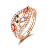 Wholesale red stones rings women resale online - 2019 New Arrival Rose Gold Leaves Zircon Wedding Side Rings for Women Party Jewelry Ladies Gifts FWR03