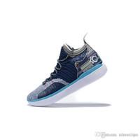 kevin durant ayakkabı çiçek toptan satış-Ucuz kd 11 erkekler basketbol ayakkabı Çiçek Paskalya Noel Sarı Mavi BHM Teyze Inci Pembe çocuklar kutusu ile Kevin Durant xi sneakers çizmeler 7 12