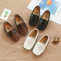 Wholesale boys kids loafers resale online - Children shoes Boys Shoes PU Leather Kids Loafers sneakers breathable Toddler Soft Bottom casual peas shoes
