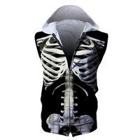 ingrosso scheletro cerniera-Felpa con cappuccio uomo Zipper senza maniche con cappuccio Skeleton 3D Felpa con cappuccio con zip uomo stampato completo Unisex Felpe con cappuccio casual Felpe con cappuccio digitale (RSZJ-55013)
