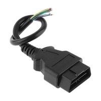 cable eobd obd2 al por mayor-10pcs mucho OBD2 16Pin macho del conector enchufable para ELM327 OBD Cable de extensión del adaptador OBDII EOBD ODB2 16 Pin