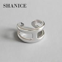 ingrosso anelli di nozze di musica-SHANICE 925 Anello croce d'argento Anillo gioielli Vintage INS semplice lettera H regalo fidanzata Cincin Haut Femme Anelli per le donne