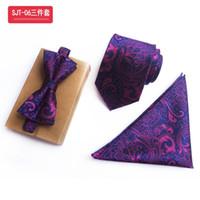 pajarita azul paisley al por mayor-Encanto fondo azul oscuro púrpura Paisley TiesBow TieHanky Set lujo púrpura Jacquard regalo de boda