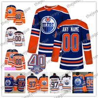 edmonton jugend großhandel-Edmonton Oilers NEUE MARKE Benutzerdefiniert Beliebig Name Männer Frauen Jugend 2019 Blau Dritter 40. Weiß Orange McDavid Hockey Jersey